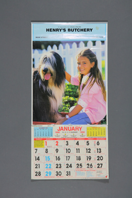 Calendar; a 1990 tear off wall calendar for Henry'...