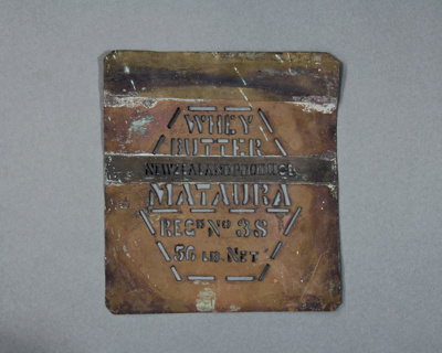 Stencil; a copper stencil used by the Mataura Dair...