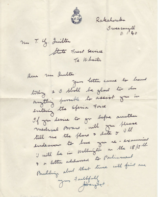 Letter; dated 11 January 1940 from James Hargest i...