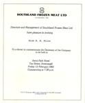 Invitation, Southland Frozen Meat Limited's Centennial Dinner, 1982 ; Southland Frozen Meat Limited; 1982; MT2015.2.7