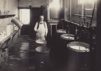 Photograph, 3 of 19, Mataura Dairy Factory Album [Manager in Pasteurisation Room]; unknown photographer; 1927; MT2012.139.3
