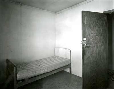 Black and white photograph of room 1B, old Mataura...