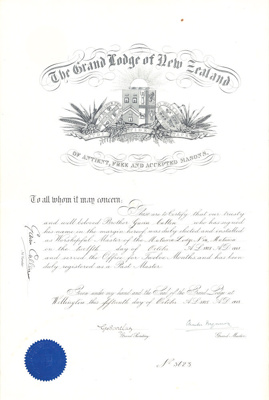 Certificate [Masonic Lodge issued to Gavin Cullen]; The Grand Lodge of New Zealand; 15.10.1928; MT2016.1.2