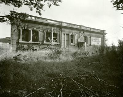 Black and white photograph behind the Mataura Trad...