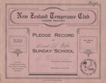 Book; Mataura Band of Hope, Junior Boys, Pledge Record ; Band Of Hope, Wright & Carman; 1925-1939; MT2012.90.4