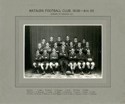 Photograph [Mataura Football Club, 4th XV, 1938]; unknown photographer; 1938; MT2017.9.6