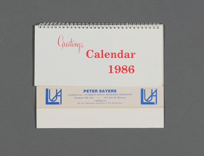 Calendar; a 1986 desk calendar for Peter Sayers, G...