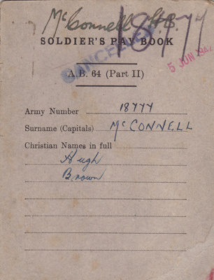 Book, Soldier's Pay Book [Hugh Brown McConnell]; unknown maker; 1942; MT2015.21.16