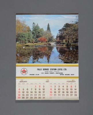Calendar; a 1981 flip type wall calendar for Falls...