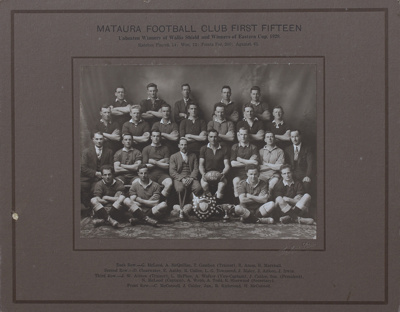 A black and white portrait of the Mataura Football...