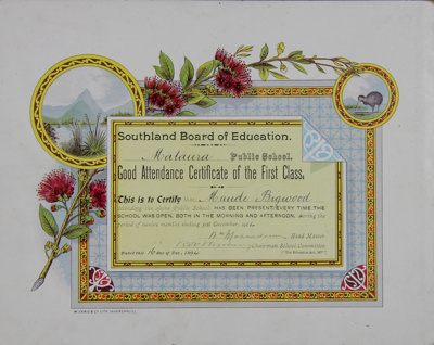Certificate, Southland Board of Education, Good Attendance Certificate [Maude Bigwood] ; Craig, W. & Co; 16.12.1904; MT2012.138
