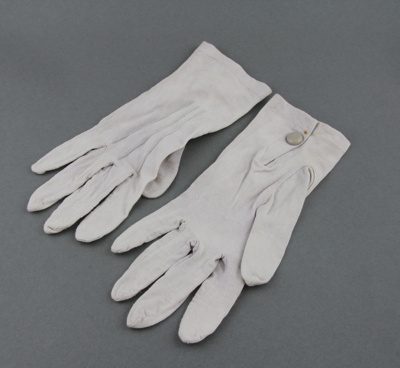 Gloves; a pair of grey ladies' dress gloves, with ...