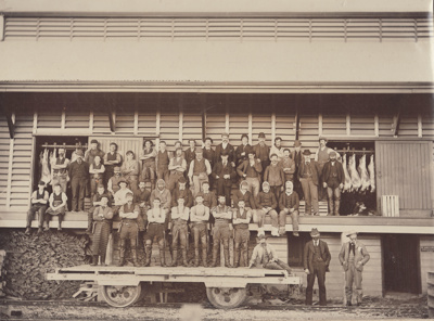 Photograph [Mataura Freezing Works staff]; Blackley, George; 1890s; MT2011.185.9