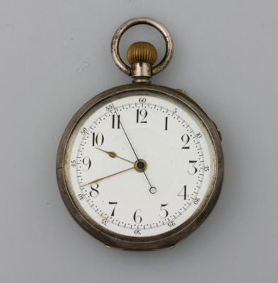 Watch; pocket. This sterling silver watch belonged...