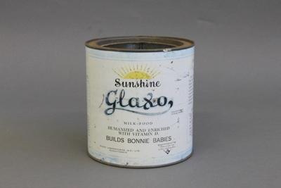 Tin; a blue and white Sunshine Glaxo baby milk pow...