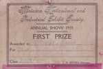 Prize card, Mataura Horticultural Society; unknown maker; 1919; MT2012.86.8
