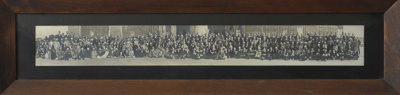 Framed panoramic, black and white photograph of al...