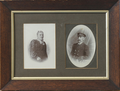 Framed black and white photographs of James Mitche...