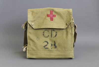 Haversack; a khaki canvas haversack, ex army issue...