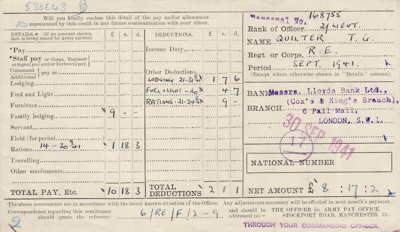 Pay slips; seven pay slips issued to Lieutenant Th...