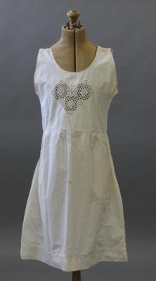 Chemise; a white slip cotton chemise with crochete...