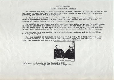 Documents; three typed pages of the genealogical h...