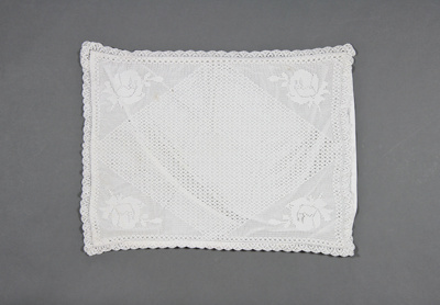 Pillow Sham; Rectangular white cotton sham with cr...