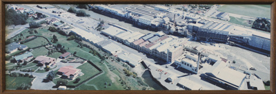A framed colour panoramic aerial view taken in 198...