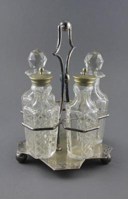 Condiment set; consisting of five cut-crystal crue...