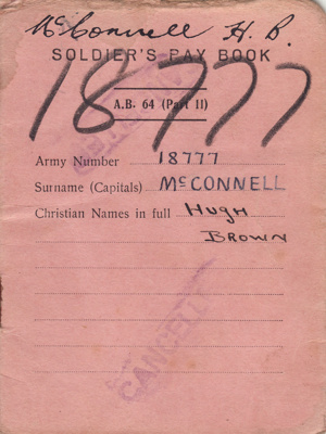 Book, Soldier's Pay Book [Hugh Brown McConnell]; unknown maker; 1942-1943; MT2015.21.17