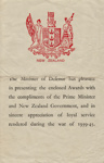 Information Sheet, War Service Awards ; New Zealand Government; 1946-1955; MT2014.12.6