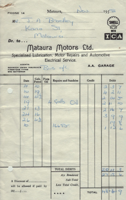 Document; invoice from Mataura Motors Ltd dated No...
