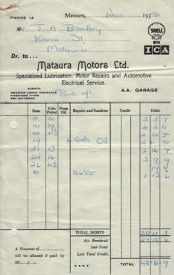Invoice, Mataura Motors Ltd ; Mataura Motors Ltd; 1958; MT2012.153.1