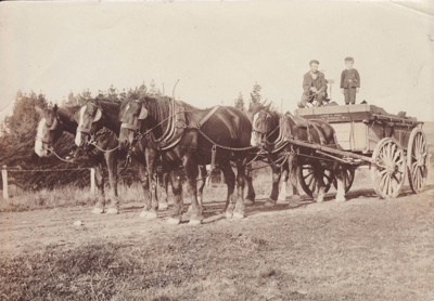 Undated black and white photograph of a wagon pull...