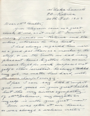 Letter; two page sympathy letter dated 28 February...
