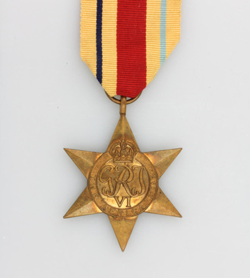 Medal, Africa Star [Hugh Brown McConnell]; New Zealand Government; 1945-1955; MT2015.21.3