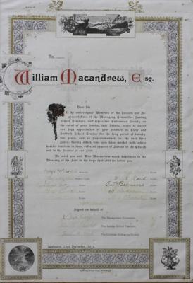 Illuminated address; presented to William Macandre...