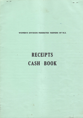 Receipts cash book, Mataura branch, Women's Division of Federated Farmers; Club members (various); 1978-1986; MT1993.99.8