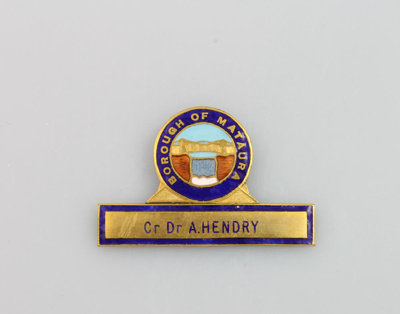 Badge of Mataura Borough Councillor, Doctor Alexan...