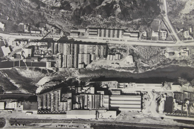 Photograph [Mataura Paper Mill and Mataura Freezing Works aerial view]; unknown photographer; 01.09.1965; MT2012.15.11