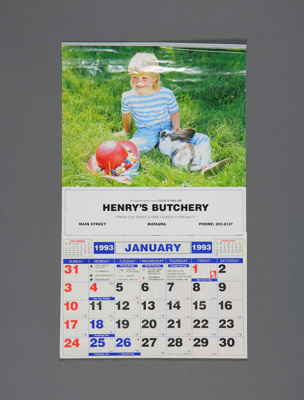 Calendar; a 1993 tear off wall calendar for Henry'...