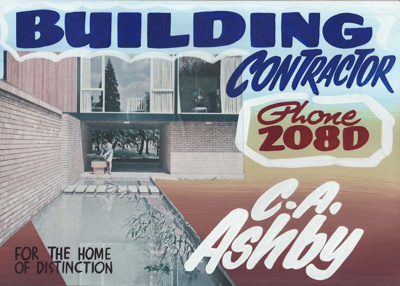 Advertising sign, C.A. Ashby, Builder, Mataura.