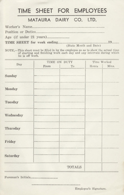 Time Sheet, Mataura Dairy Company Limited; Mataura Dairy Company Limited; 1950-1960; MT2012.93.1