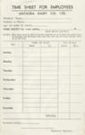 Time Sheet, Mataura Dairy Company Limited; Mataura Dairy Company Limited; 1950-1960; MT2012.93.1