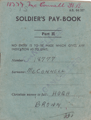 Book; Hugh Brown McConnell's Soldier's Pay Book fo...