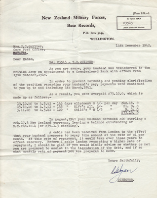 Letter; dated 14 December 1942 from the New Zealan...
