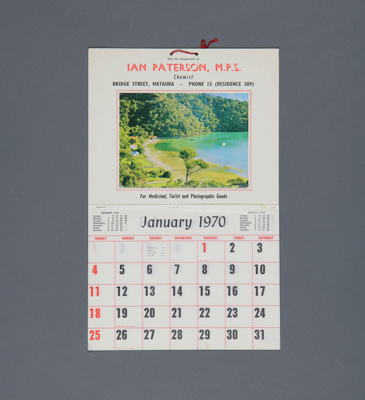 Calendar, Ian Paterson, M. P. S. Chemist, Mataura; unknown maker; 1970; MT2012.110.2