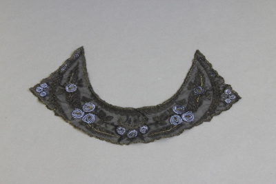 Collar; a black lace collar with a blue and olive ...