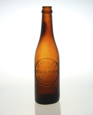 Bottle; a brown glass bottle made in 1923 used by ...