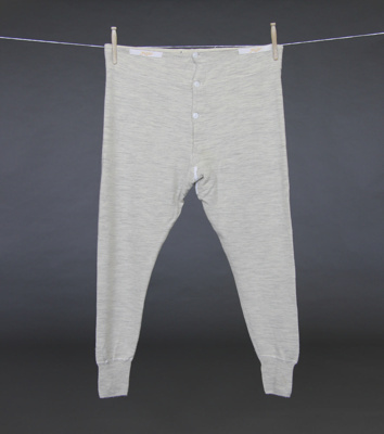 Long johns; cream Petone Mill woollen long johns w...